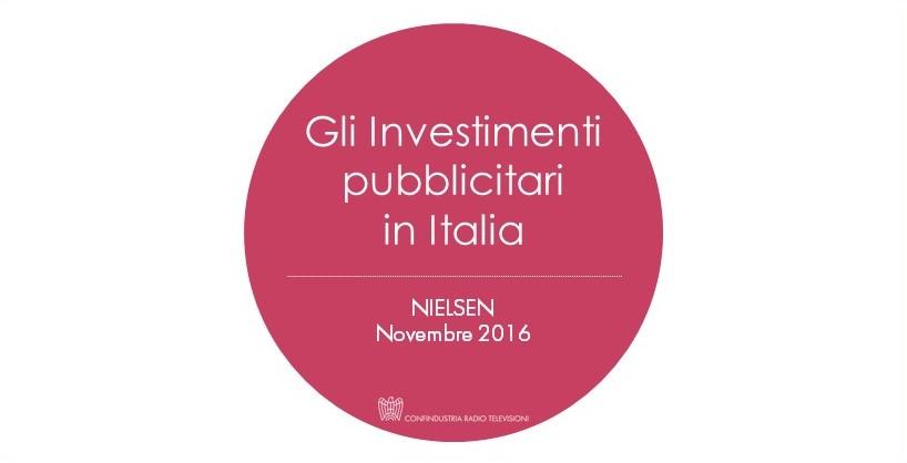 Investimenti Pubblicitari NIELSEN - Novembre 2016